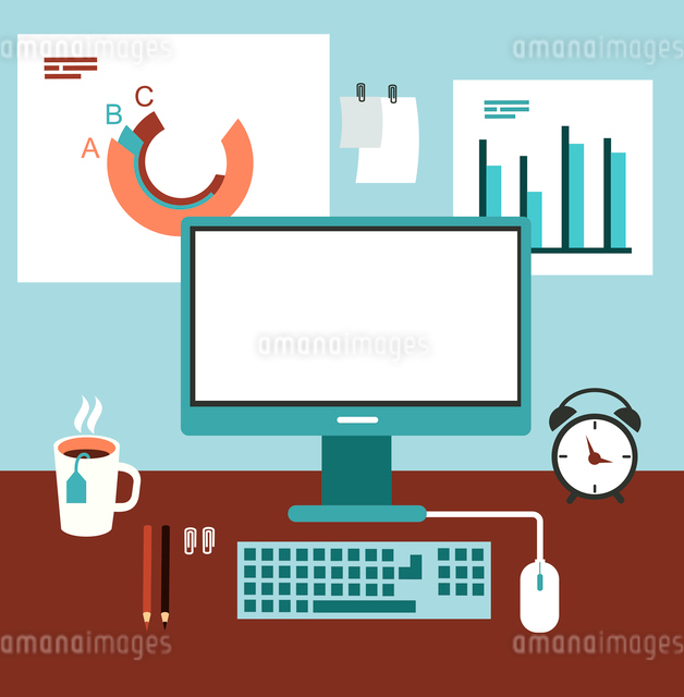 office desk with computer and graphics illustrationのイラスト素材 [FYI03066370]