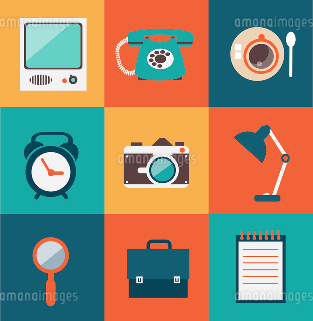 journalist, television, camera, mobile phone, notebook, cup of tea, bags, watches  illustrationのイラスト素材 [FYI03066380]