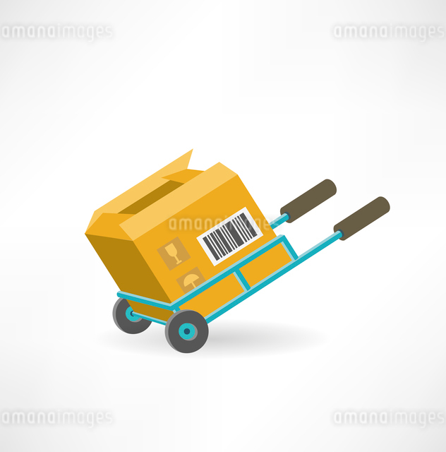 cargo box on the cart icon. Flat modern style vector designのイラスト素材 [FYI03066389]