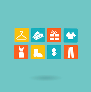 16 icons set. Shopping, Euro. Flat modern style vector designのイラスト素材 [FYI03066395]