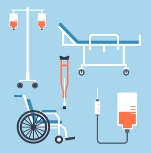 Wheel chair, wheelchair, dropper, illustrationのイラスト素材 [FYI03066408]
