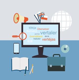 desktop translator   illustration. Flat modern style vector designのイラスト素材 [FYI03066424]
