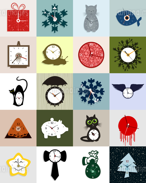 Set of interesting hours. A vector illustrationのイラスト素材 [FYI03066453]