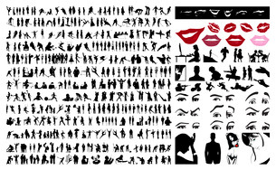Collection of silhouettes of people. 360 silhouettes of people. A vector illustrationのイラスト素材 [FYI03066455]