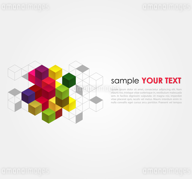 Vector abstract background with color cubesのイラスト素材 [FYI03066482]
