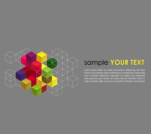 Vector abstract background with color cubesのイラスト素材 [FYI03066484]