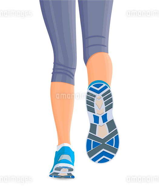 Running female woman legs in shoes isolated on white background vector illustrationのイラスト素材 [FYI03066617]