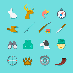 Set of hunting animal wild life leisure icons with reflection effect in flat color style vector illuのイラスト素材 [FYI03066620]