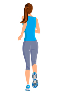 Female running full length body of healthy lifestyle isolated on white background vector illustratioのイラスト素材 [FYI03066623]