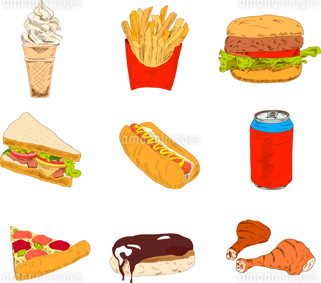 Set of sketch doodles hamburger hot dog fast food pizza icons in color vector illustrationのイラスト素材 [FYI03066626]