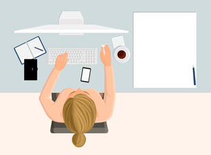 Working business woman on computer on workplace in office top view vector illustrationのイラスト素材 [FYI03066628]