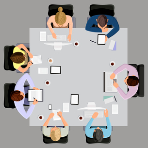 Office workers business management meeting and brainstorming on the square table in top view vectorのイラスト素材 [FYI03066633]