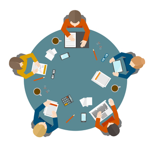 Flat style office workers business management meeting and brainstorming on the round table in top viのイラスト素材 [FYI03066639]