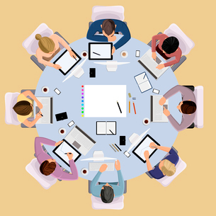 Top view concept of business meeting brainstorming professional people on the table vector illustratのイラスト素材 [FYI03066640]