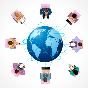 Global connection business network people concept in top view vector illustrationのイラスト素材 [FYI03066641]