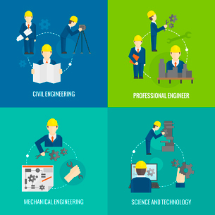 Civil professional mechanical science engineering concept flat business icons set of manufacturing mのイラスト素材 [FYI03066645]