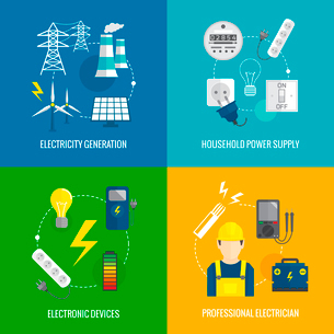 Electricity energy concept flat business icons set of household power professional electrician for iのイラスト素材 [FYI03066646]