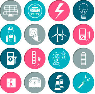 Electricity power energy icons set in white color on circles vector illustrationのイラスト素材 [FYI03066649]