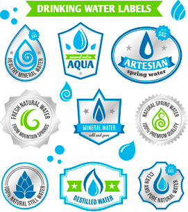 Set of water drops label badge set for healthy aqua bottles design vector illustrationのイラスト素材 [FYI03066652]