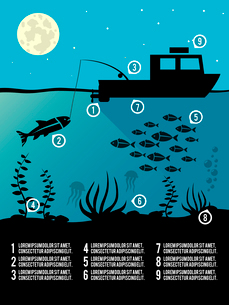 Infographic template of night  fishing black colors icons for poster or flyer vector illustrationのイラスト素材 [FYI03066656]