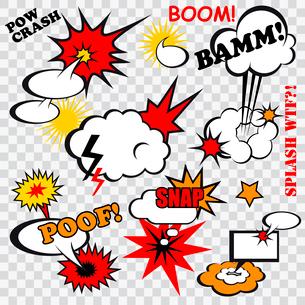 Boom comic bubbles snap humor fun template design for superhero book vector illustrationのイラスト素材 [FYI03066664]