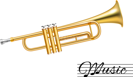 Golden music trumpet isolated on white background vector illustrationのイラスト素材 [FYI03066670]