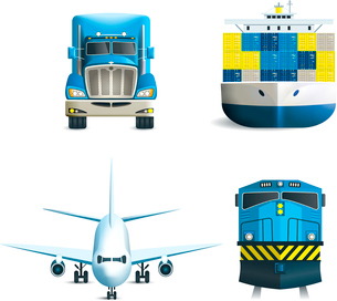 Logistic realistic icons set of truck airplane train ship transport isolated vector illustration.のイラスト素材 [FYI03066674]
