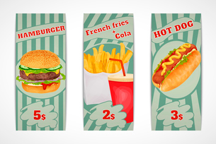 Fast food banners set with hamburger French fries cola and hot dog isolated vector illustration.のイラスト素材 [FYI03066677]