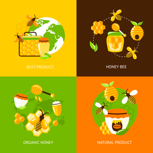 Best product organic natural honey bee icons set isolated vector illustrationのイラスト素材 [FYI03066679]