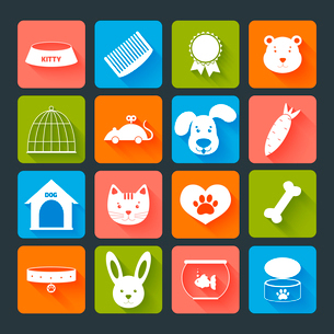 Pets icons set flat with animal food toy isolated vector illustrationのイラスト素材 [FYI03066685]