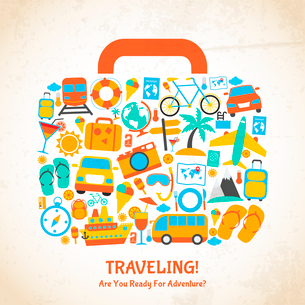 Travel holiday vacation suitcase ready for adventure concept vector illustrationのイラスト素材 [FYI03066689]