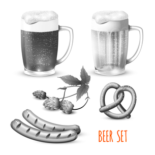 Glass mugs of beer hop pretzel and sausage snacks black and white decorative set vector illustrationのイラスト素材 [FYI03066692]