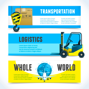 Logistic shipping  whole world transportation horizontal banners set isolated vector illustration.のイラスト素材 [FYI03066693]