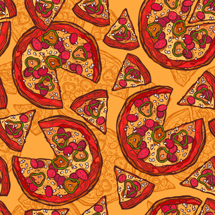 Hot delicious tasty meat cheese olive pepper sketch pizza seamless pattern vector illustration.のイラスト素材 [FYI03066699]