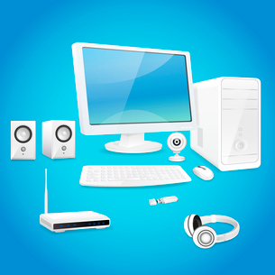 Computer and accessories set of monitor speaker keyboard isolated vector illustrationのイラスト素材 [FYI03066708]