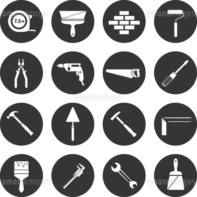 Builder and construction industry instrument assortment black icons set isolated vector illustrationのイラスト素材 [FYI03066712]