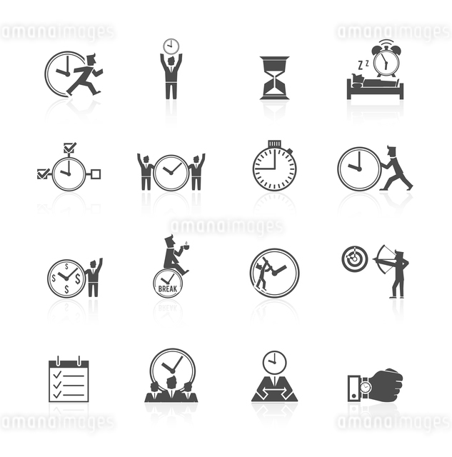 Time managing individual and team activities strategies icons set with effective goal planning symboのイラスト素材 [FYI03066714]