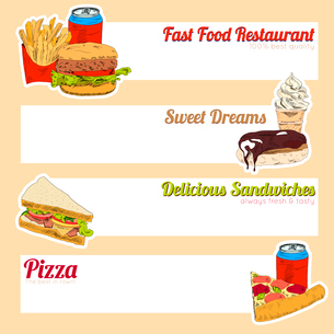 Fast food restaurant menu delicious sandwiches pizza hotdog sweet drinks fill in template form banneのイラスト素材 [FYI03066719]