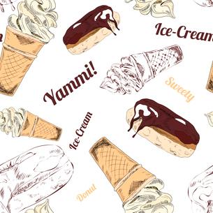 Fast food restaurant service chicken legs sandwich icecream wrapping paper seamless pattern print doのイラスト素材 [FYI03066721]