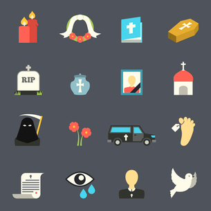 Death and mourning for deceased ritual church funeral ceremony tombstone candles flat icons set vectのイラスト素材 [FYI03066722]