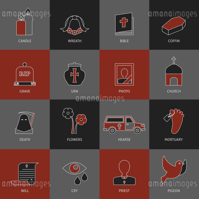 Funeral service eulogy speech tears and ash urn pictograms collection with mortuary toe tag vector iのイラスト素材 [FYI03066724]