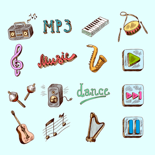 Set of music dance instruments hand drawn color icons in sketch style vector illustrationのイラスト素材 [FYI03066729]