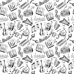 Music mp3 doodles icons seamless pattern in gray color vector illustrationのイラスト素材 [FYI03066730]