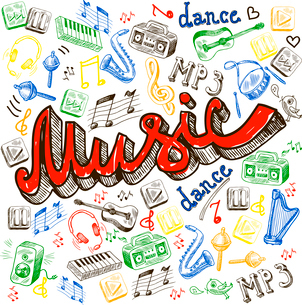 Music composition with note dance words saxophone in sketch color style vector illustrationのイラスト素材 [FYI03066731]