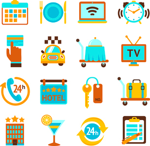 Hotel travel 24h room service flat icons set with breakfast bell and mobile tv isolated vector illusのイラスト素材 [FYI03066732]