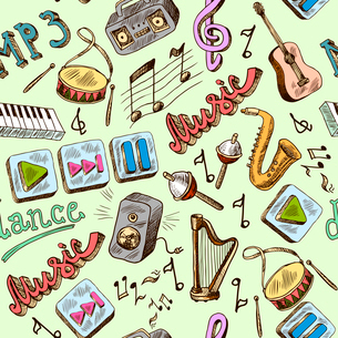 Music mp3 doodles seamless pattern with piano play pause color icons vector illustrationのイラスト素材 [FYI03066736]