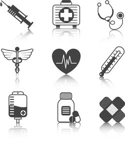 Ambulatory healthcare medical pharmaceutical icons set with heart stethoscope asclepius emblem abstrのイラスト素材 [FYI03066737]