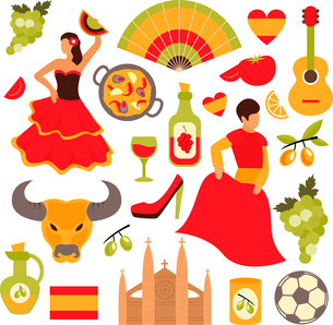 Spain travel tourist attractions icons set isolated vector illustrationのイラスト素材 [FYI03066740]