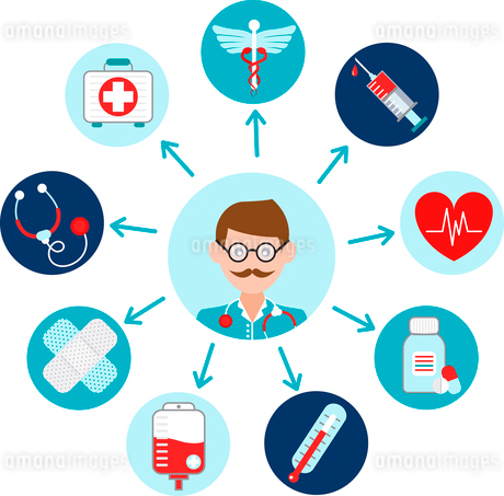 Medical emergency first aid health care icons set with doctor avatar vector illustrationのイラスト素材 [FYI03066741]