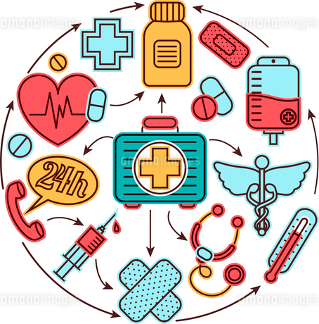 Medical emergency first aid health care icons set medicine concept vector illustrationのイラスト素材 [FYI03066743]